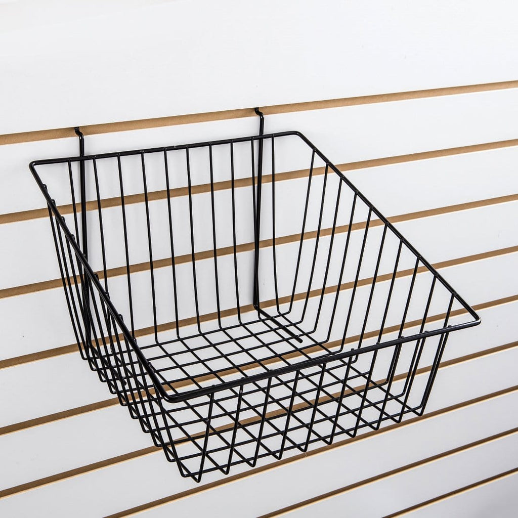 Slant front basket for slatwall and pegboard