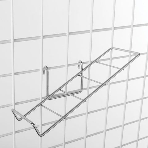 "Slant shoe shelf for grid. 1/4"" wire, 13""L x 4-1/4""W. Available finish: chrome"
