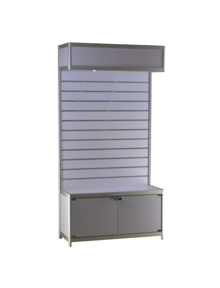 Pre-assembled 39-1/3 x 15-3/4 x 78 - inch anodized aluminum frame, white header, storage and slatwall, LED,   locking hinged doors