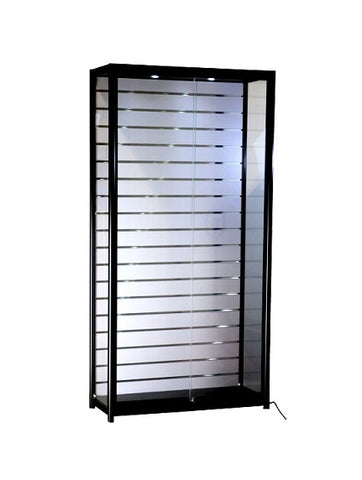 39-1/3 x 15-3/4 x 78-inch  Pre-assembled black frame, top and base, white slat wall back panel, 2 LED, sliding glass doors