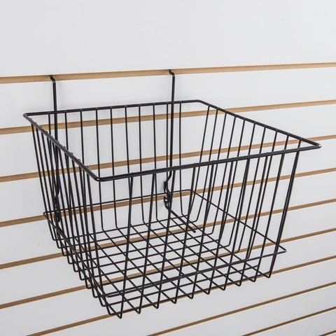 Small basket for slatwall, slatgrid and pegboard,