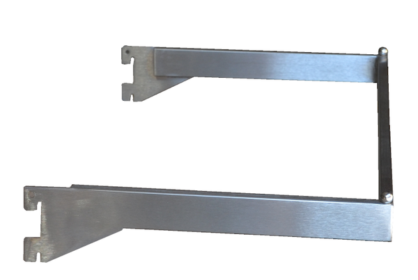 U Shaped Hangrail - U bar for heavy duty wall standards satin chrome