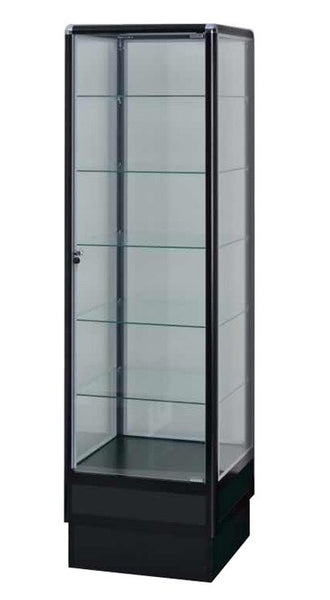 Glass Cabinet Display With Aluminum Frame  In Black electrophoresis - 72 x 20 x20 - Inch