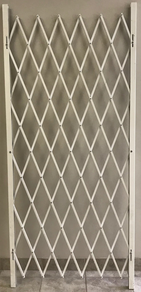 Folding Security Gate White 45 - Inch High, in 38, 48, 58, and 68 - Inch Multiple Lengths