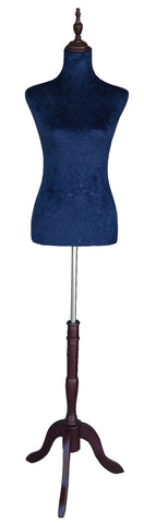 Adjustable Dress Form for Female Dark Blue Torso with Wood Base