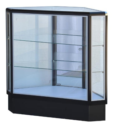 Hexagonal Display Cabinet   With Aluminum Frame In Black Electrophoresis - 20 W x 20 D x 12 D x 38 H - Inch