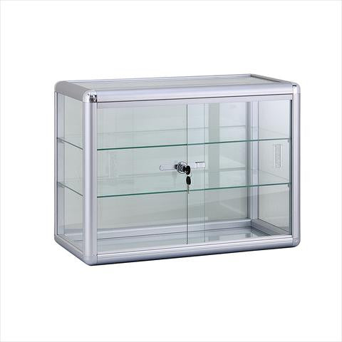 Countertop Display Case With Aluminum Frame And Tempered Glass - 24 L x 12 W x 18 H - Inch