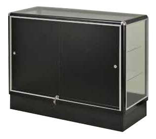 Show Case  With  Tempered Glass And Black Aluminum Frame In Full Vision - 48 x 38 x20 - Inch - Back View