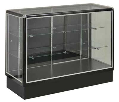 Glass Display With  Tempered Glass And Black Aluminum Frame In Full Vision - 48 x 38 x20 - Inch