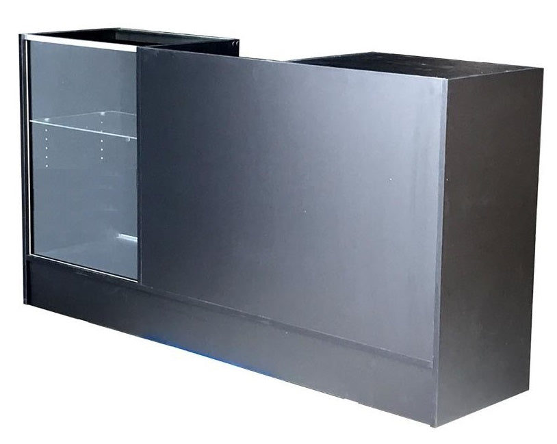 Cash Wrap Counter with Glass Display in Black 72 X 18 X38 - Inch- All Glass Tempered