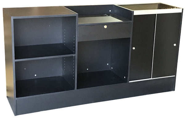 Cash wrap counter with glass display in black - with one drawer, one adjustable shelf