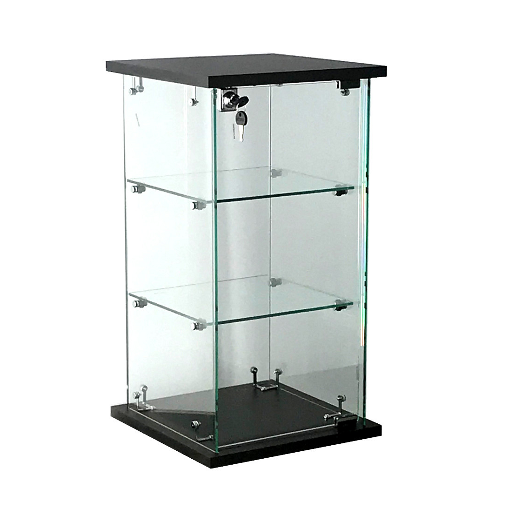 Frameless glass countertop display case, 13(W) x 13(D) x 24(H) - inch