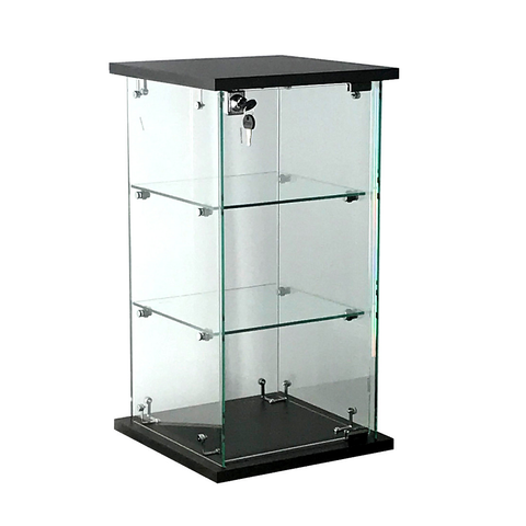 Frameless glass countertop display case, 13(W) x 13(D) x 24(H) - inch with lock