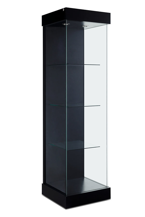 Tower Display Case with Front and Side Glass in Multiple finishes - 20.5(W) X 20(d) X 77.5(H) - inch