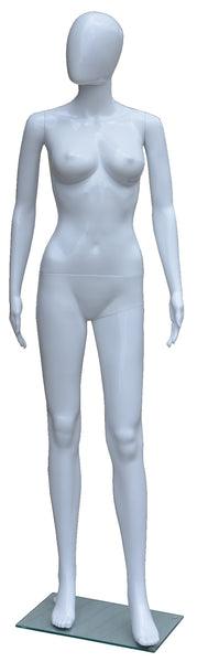 Display Mannequin with Egg Face in White for Female, Plastic hard to break, Height: 68, Chest:33, Waist: 24, Hip: 33 inch