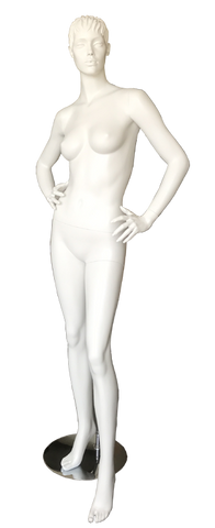 Female fiber glass standing white  mannequin CBA4