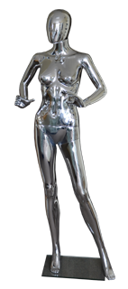 Female plastic mannequin silver chrome finish.