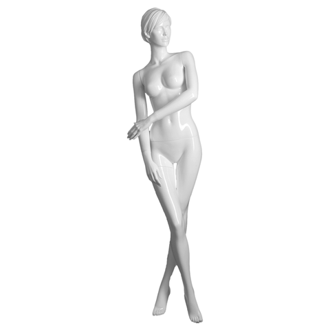 White realistic female mannequin with right leg crossed over - Elizabeth 4