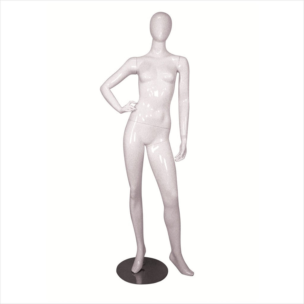 Female Fiber Glass Mannequin with Right Hand on Hip -MICHELLE-3 W