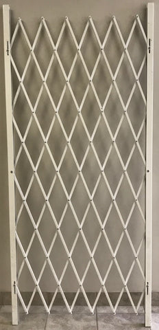 Folding Security Gate White 98 - Inch High, in 38, 48, 58, 68, 78, 88, 104, and 125 - Inch Multiple Lengths