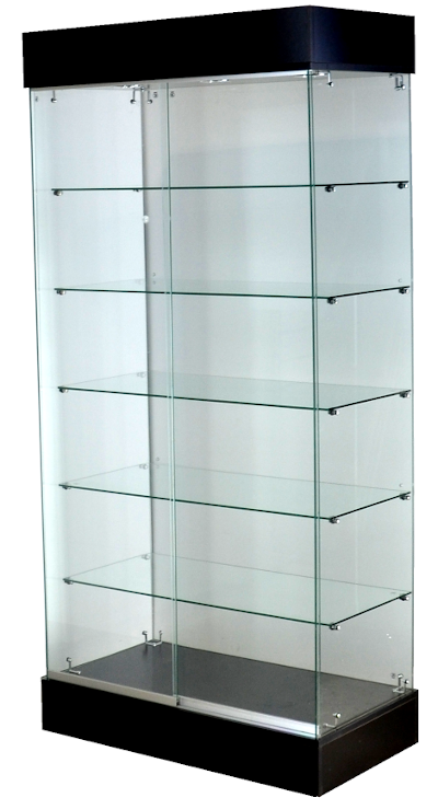 Frameless glass display cabinet 35 X 20 X 76 - inch, 5 pcs 16 - inch glass shelves, all glass 6mm tempered glass, 6 - inch base