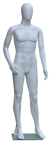 Full Body Male Mannequin, Plastic, White, with Egg Face and Glass Base, Height: 72, Chest: 38, Waist: 29 and Hip: 37 inch