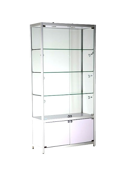 39-1/3 x 15-3/4 x 78 - inch Aluminum glass display cabinet with storage and lock, tempered glass, 3 adjustable shelves