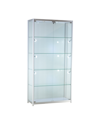 39-1/3 x 15-3/4 x 78 - inch Aluminum glass display cabinet with LED and lock, tempered glass, 4 adjustable shelves