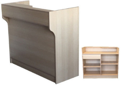 Store Display Counter With Ledge Top In Maple - 48 x 22 x 42 - Inch