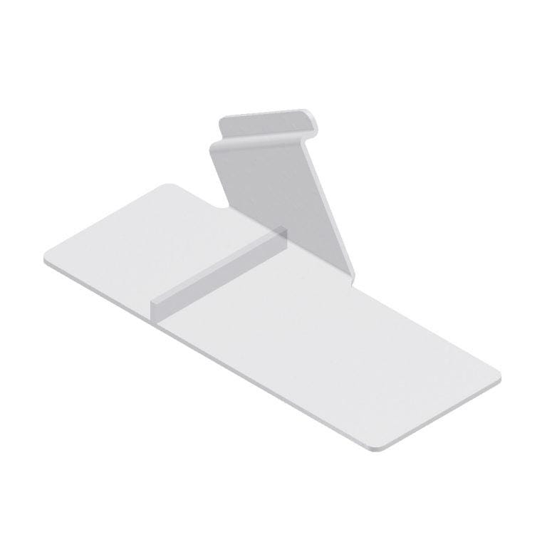 Left slant plexi shoe shelf for slatwall, 9L x 4W.