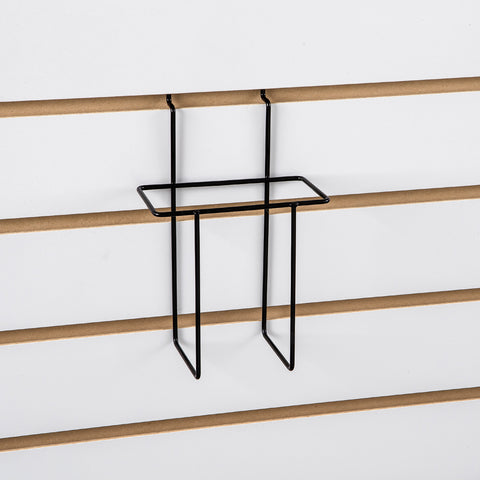 9-1/2''L x 2-1/2''W x 9''H literature holder for slatwall. Available finish: black
