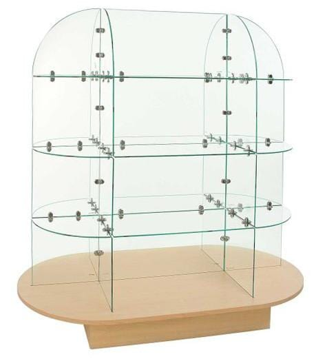 Oval base glass display unit