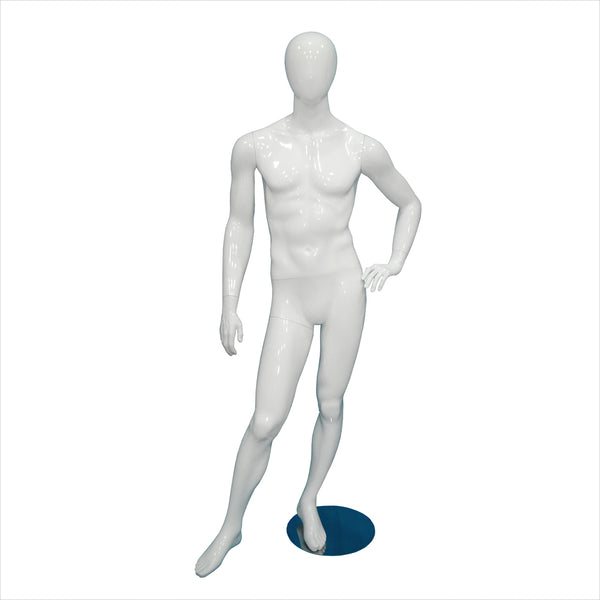 Male Fiber Glass Mannequin with Right Leg Out BLACK