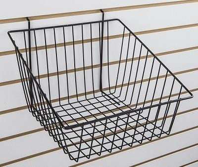 Pegboard and slatwall slant front basket
