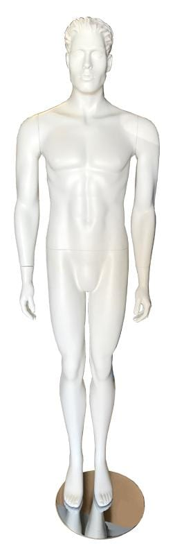 Male fiber glass standing white mannequin with head --- PHBW