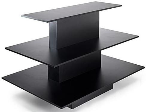 rectangular 3 tier table black