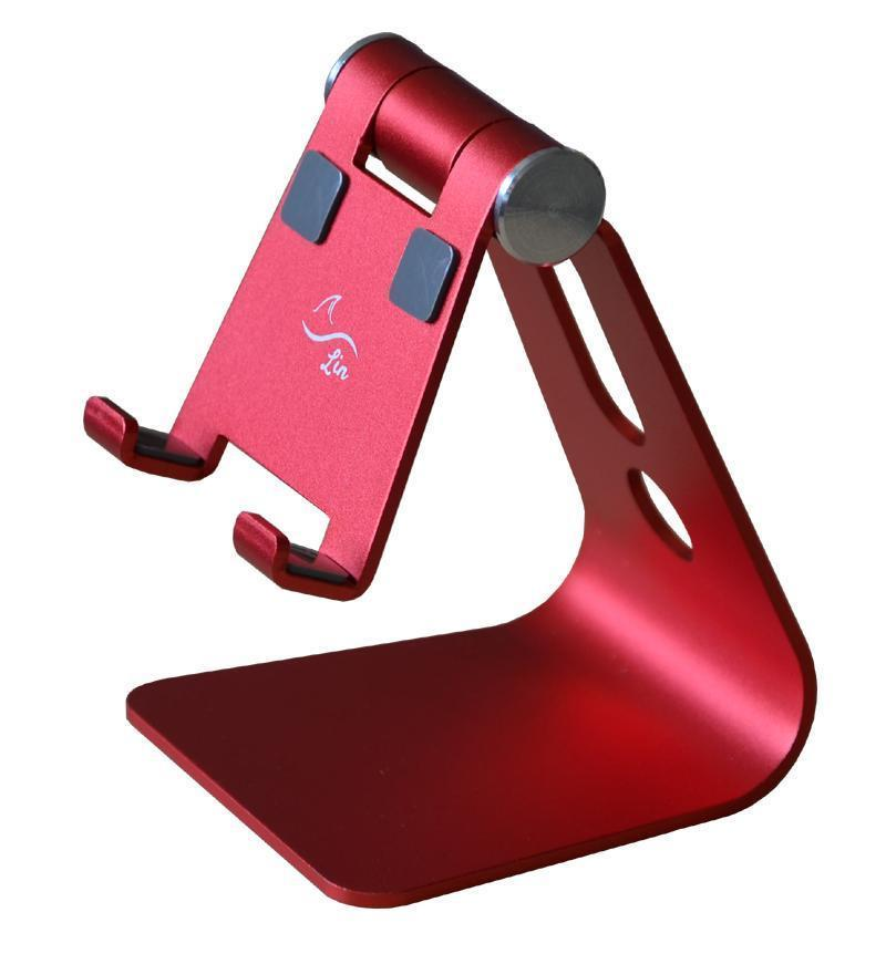 Adjustable Desktop Cell Phone Stand Portable Aluminum Tablet holder ---- Red