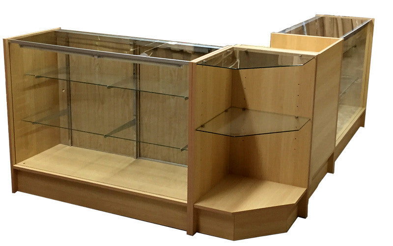"Display Cases Toronto With Retail Counter Combination Maple - 2 pcs 48"" Showcases  - 1 pc Retail Counter And 1pc Corner Case"