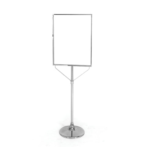 "28"" x 22"" sign stand with 15"" trumpet base, 67"" high"