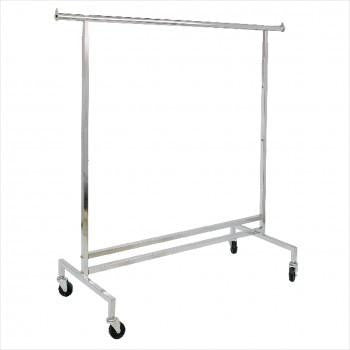 Clothes rack - Adjustable single hangrail rolling rack chrome 60 - inch long