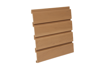 PVC Slatwall 4 x 1 - Foot Oak, and 8 pcs of 4 x 1 - Foot Make 1pc Standard 4 x 8 - Foot Vertical Slatwall