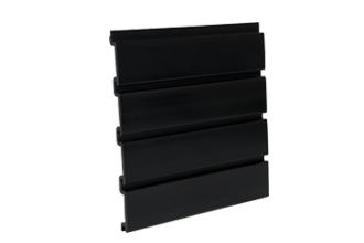 PVC Slatwall 4 x 1 - Foot Black, and 8 pcs of 4 x 1 - Foot Make 1pc Standard 4 x 8 - Foot Vertical Slatwall