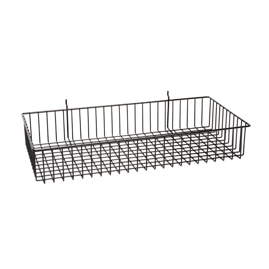 24''L x 12''Wx 4''H wire basket. Available finish: black and white
