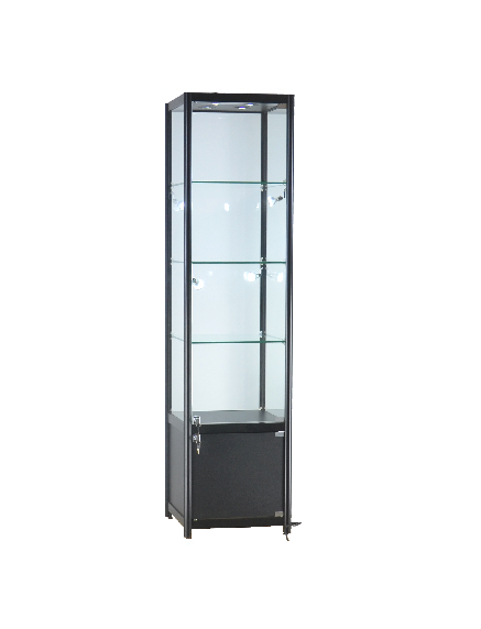 19 1/2 x 19 1/2 x 78 - inch Glass display case black with storage, 8 LED and lock. All glass tempered, 3 adjustable shelves