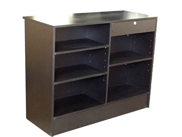 Store Display Counters With  Front Slatwall In Black - 48 x 20 x 38 - Back View