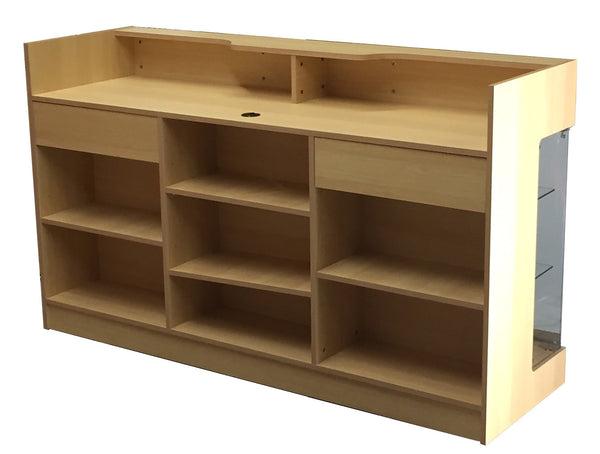 "Retail Counter With Showcase In Maple -  72"" L x 22"" W x 42"" H - Back View"