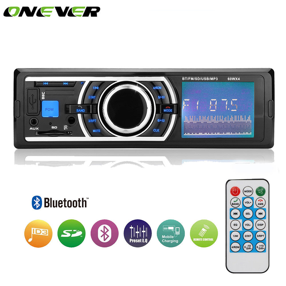Onever Bluetooth In-Dash 1 Din Car Stereo Audio FM Radio MP3 Player 60W*4 Support Hands-free Call Aux Input SD USB with Remote