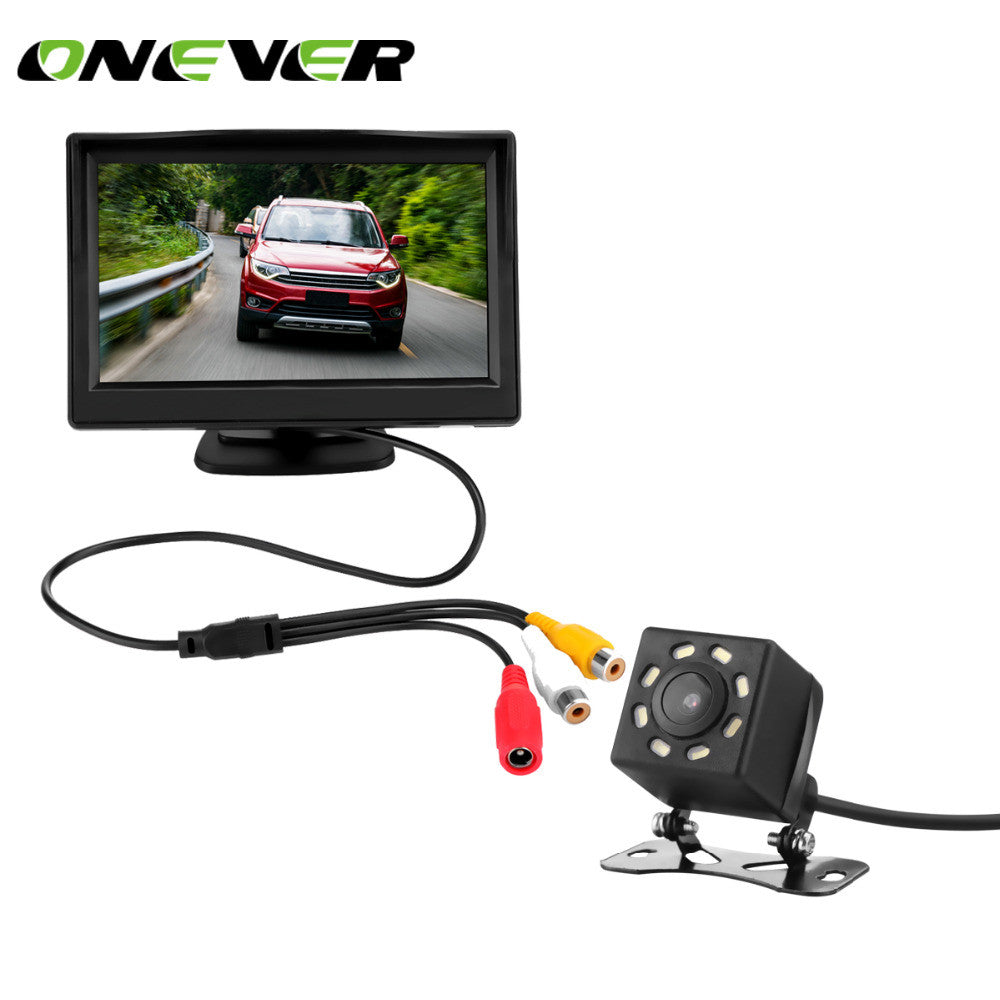 5 Inch TFT LCD Car Rear View Display Monitor Kit with Waterproof Night Vision Wide Angle Backup Parking Reversing Camera