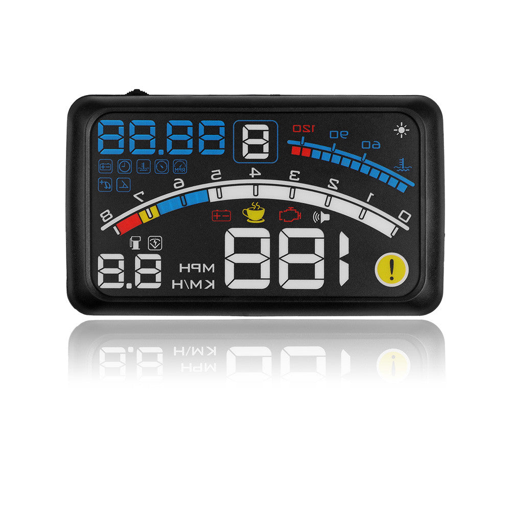 Onover 5.5'' OBDII Car Hud Head Up Display OBD2 Blue White Led Light Auto Interface Windshield Projector Fuel,KM/h,MPH Display