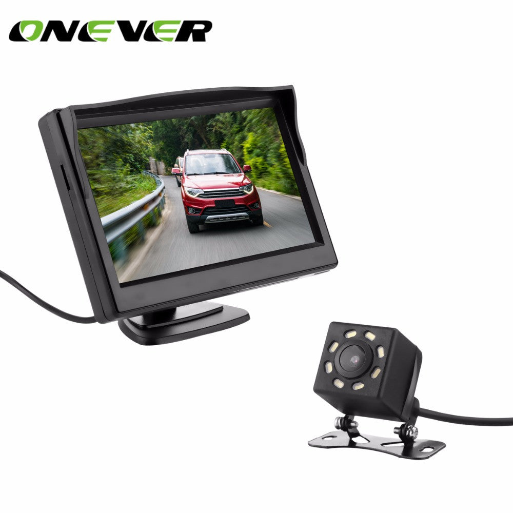 7LED CCD Waterproof Vehicle Camera Night Vision HD Car Rear View Back Up Reverse Parking Camera+5 Inch TFT LCD Car Monitor